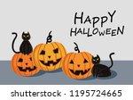 halloween pumpkin with black... | Shutterstock .eps vector #1195724665