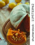 pumpkin  pumpkin slices and... | Shutterstock . vector #1195733962