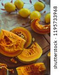 pumpkin  pumpkin slices and... | Shutterstock . vector #1195733968