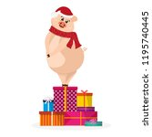 funny pig stand shy on...   Shutterstock .eps vector #1195740445