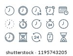 time and clock line icons.... | Shutterstock .eps vector #1195743205