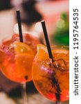 cocktail glasses on outdoor bar ... | Shutterstock . vector #1195764535