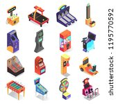 kids gaming machine isometric... | Shutterstock .eps vector #1195770592