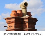 ceramic chimney pots on the top ... | Shutterstock . vector #1195797982