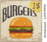 retro poster burgers with price | Shutterstock .eps vector #119579992