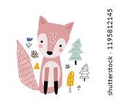 cute cartoon fox print.... | Shutterstock .eps vector #1195812145