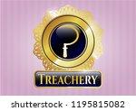 golden emblem or badge with...   Shutterstock .eps vector #1195815082