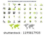 power and energy icons set.  | Shutterstock .eps vector #1195817935