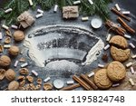 winter background with nuts ... | Shutterstock . vector #1195824748