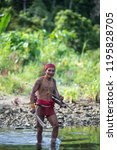 indians of the mentawai tribe ... | Shutterstock . vector #1195828705