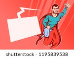 flying up comic superman on red ... | Shutterstock .eps vector #1195839538