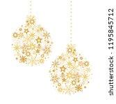 christmas ball with golden... | Shutterstock . vector #1195845712