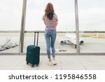 young slim woman waiting her... | Shutterstock . vector #1195846558