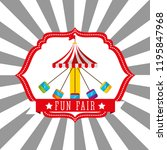 carnival chairs ride funfair...   Shutterstock .eps vector #1195847968