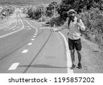 pick me up. hitchhiking one of... | Shutterstock . vector #1195857202