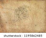 old vintage fantasy map   | Shutterstock . vector #1195862485