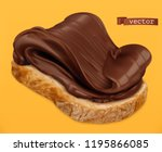 chocolate spread on bread. 3d... | Shutterstock .eps vector #1195866085