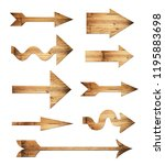 arrow wood set isolated on... | Shutterstock . vector #1195883698