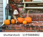 pumpkins with scarecrow and an... | Shutterstock . vector #1195888882