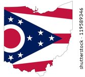 Ohio vector map with the flag inside.