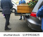 coffin in the hearse | Shutterstock . vector #1195903825