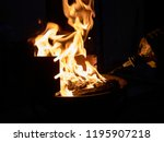 barbeque grill with orange live ... | Shutterstock . vector #1195907218