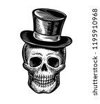 skull or jolly roger in hat...   Shutterstock .eps vector #1195910968