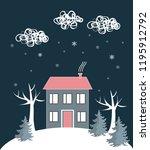 cartoon winter landscape  with...   Shutterstock .eps vector #1195912792