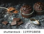 close up of cocoa muffins with... | Shutterstock . vector #1195918858