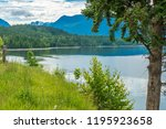 majestic mountain lake in... | Shutterstock . vector #1195923658