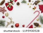 christmas frame. red  gold and... | Shutterstock . vector #1195930528