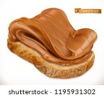 peanut butter on bread. caramel ... | Shutterstock .eps vector #1195931302