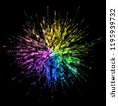 colorful particles burst on... | Shutterstock . vector #1195939732