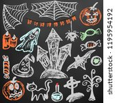 halloween. a set of funny... | Shutterstock .eps vector #1195954192