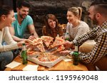group of young hungry people... | Shutterstock . vector #1195969048