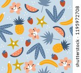 seamless pattern with tropical... | Shutterstock .eps vector #1195972708