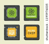 vector tech icon set of chips... | Shutterstock .eps vector #1195976035