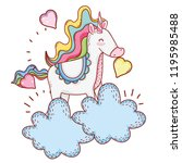 unicorn on clouds | Shutterstock .eps vector #1195985488