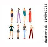 fashionable modern girl in... | Shutterstock .eps vector #1195987258