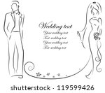 silhouette of bride and groom ... | Shutterstock .eps vector #119599426