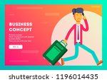 unhappy businessman is late for ... | Shutterstock .eps vector #1196014435