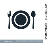 kitchen utensil spoon plate fork | Shutterstock .eps vector #1196028535