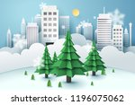 christmas tree surrounded by a... | Shutterstock .eps vector #1196075062