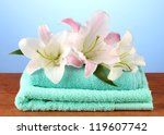 stack of towels with pink lily... | Shutterstock . vector #119607742