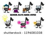 A Set Of Cartoon Music Note...