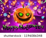 happy halloween ad poster ... | Shutterstock .eps vector #1196086348