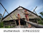 indians of the mentawai tribe ... | Shutterstock . vector #1196122222