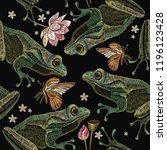 embroidery vintage frogs  lotus ... | Shutterstock .eps vector #1196123428
