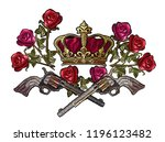 embroidery crown  crossed guns... | Shutterstock .eps vector #1196123482
