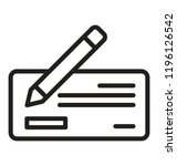 pen writing on cheque icon... | Shutterstock .eps vector #1196126542